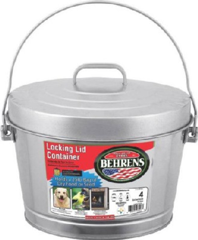 Trash Can,  4 Gallon, Galvanized With Lid