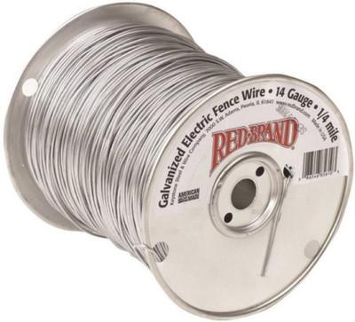 Electric Fence Wire, 14 ga Wire, 1/4 mile L, Steel, Galvanized