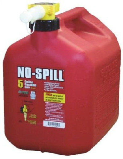 Gas Can, 5 gal, 15 in H, Plastic, Red