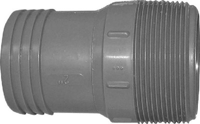 """Barbed Tube Fittings, 2"""", MPT Adapter, Polypropylene"""