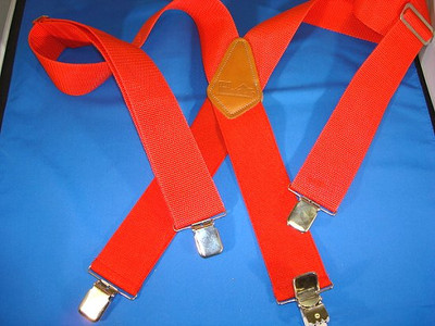 "Hold Up Contractor Series, 2"" Wide, LOGGER RED, Silver Clips"
