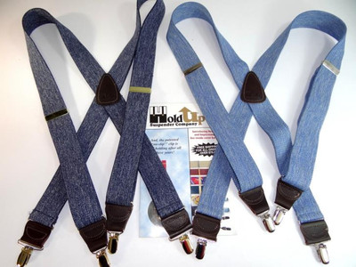 "Hold Up Casual Series, 1-1/2"" Wide, LIGHT BLUE DENIM, Gold Clips"