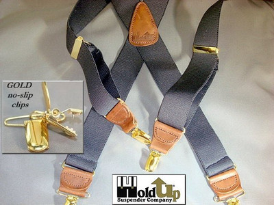 "Hold Up Casual Series, 1-1/2"" Wide, SLATE, Silver Clips"