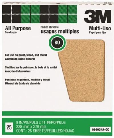 """3M, Sanding Paper,  80 Grit, 9"""" x 11"""", Aluminum Oxide, 25 Pack,"""