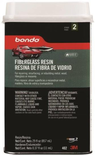 Bondo, Fiberglass Resin With Hardener, Quart