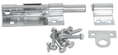 Barrel Bolt, 5 in, Pad Lockable Steel, Zinc Plated