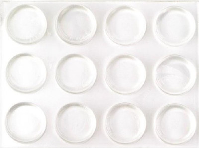 "Bumpers, 1/2"" Dia, Clear, Self Stick,12 Pack"