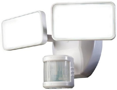 LED, Outdoor Dual Light With Motion Detector, White, 1600 Lumens