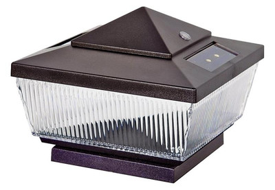 LED, Post Cap, 4 Lumens, Solar Powered, Brown