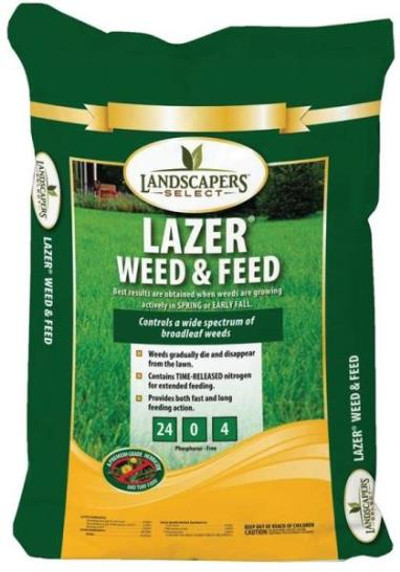 Lawn Fertilizer With Weed Control, 24-0-4, 48 Lb, 15,000