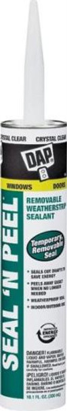 Seal-N-Peel Removable Caulk, Clear, 10.1 oz Tube