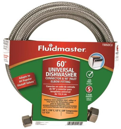 """SS, Dishwasher Supply Line, 3/8"""" Comp x 60"""", W 1/2"""" MPT Elbow"""