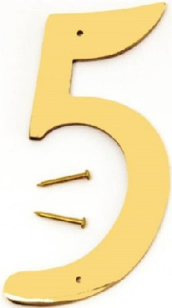 "Hy-Ko BR-40/5, Prestige Polished Solid Brass House Number 5, 4"" Tall"