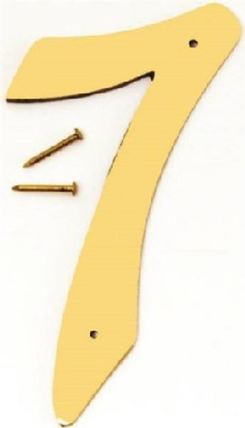 "Hy-Ko BR-40/7, Prestige Polished Solid Brass House Number 7, 4"" Tall"
