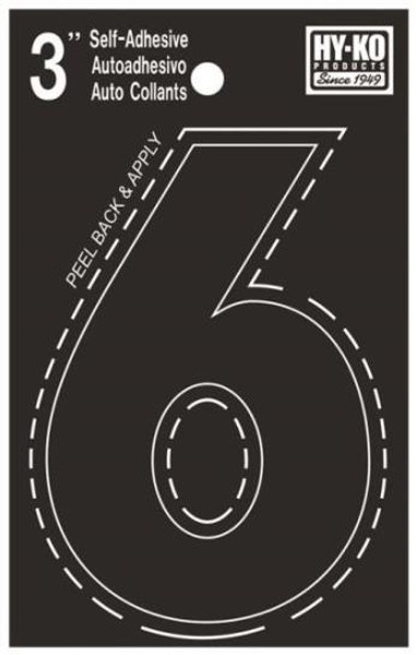 "Boat Number, ""6"", Die Cut, 3"" High"