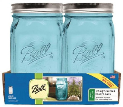 Ball, Canning Jar, Quart, Blue, 4 Pack