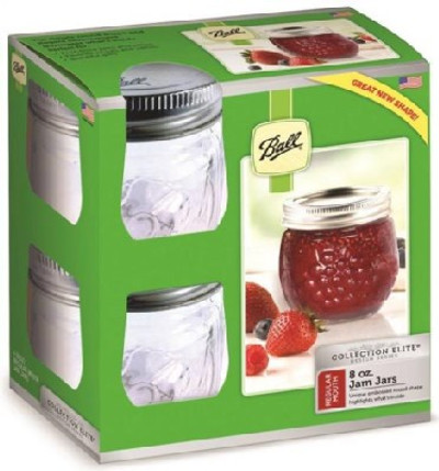 Ball, Canning Jars, Quilted Glass, 8 oz, Wider Mouth, 4 Pack