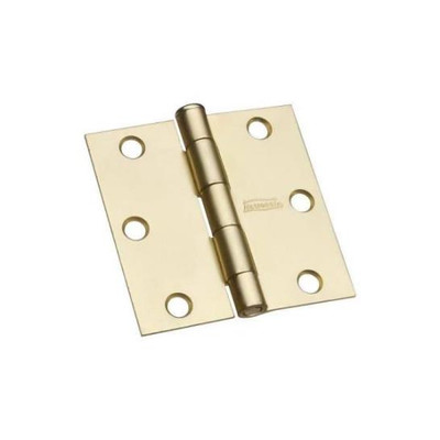 "Butt Hinge 3"" Square Corner, Satin Brass Plated Steel"