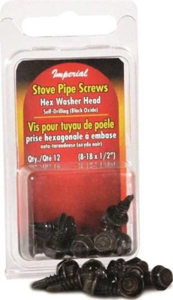 """Stove Pipe, Black, Screws, #8 x 1/2"""", 12 Pack"""