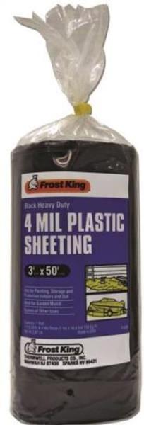 Plastic Sheeting, 4 Mil, 3' x  50', Black
