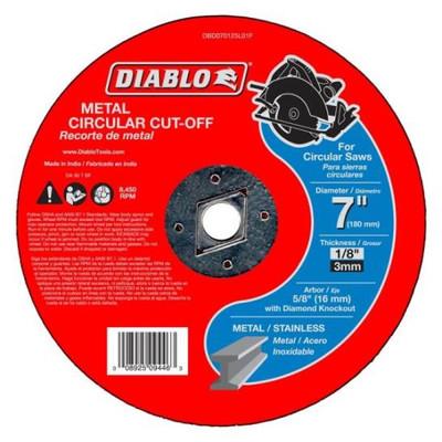 """Metal Cut-Off Wheel, 7"""" x 1/8"""", 5/8"""" Arbor, Diablo"""