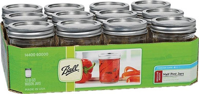 Ball, Canning Jar, 1/2 Pint, Regular Mouth, 12 Pack