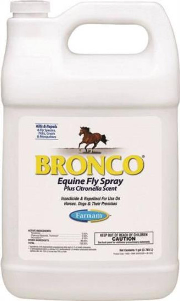 Bronco Equine Fly Spray 1 Gallon, Water based, Citronella Scent