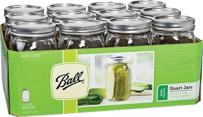 Ball, Canning Jar, Quart, Wide Mouth, 12 Pack