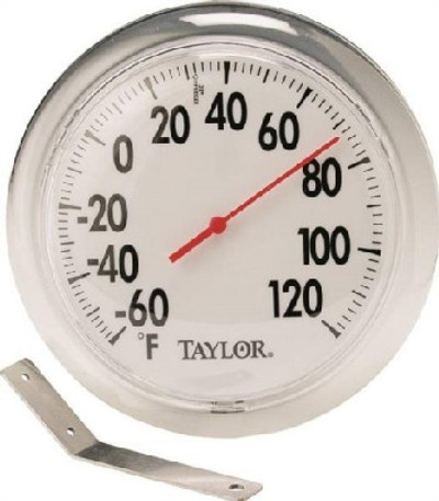 "Thermometer, Outdoor, Round, -60 TO 120 Deg F, 6 "" Dia"