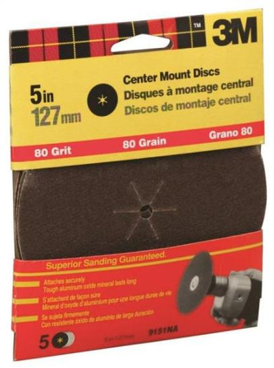 "3M, 5"" Center Hole Sanding Disc,  80 Grit, 5 Pack"