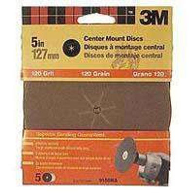 "3M, 5"" Center Hole Sanding Disc, 120 Grit, 5 Pack"