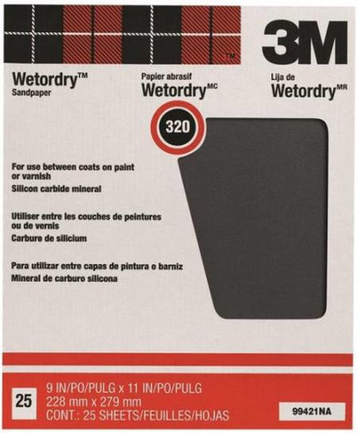 "3M, Wet Or Dry Sandpaper, 320 Grit, 9"" X 11"", 25 Sheets"