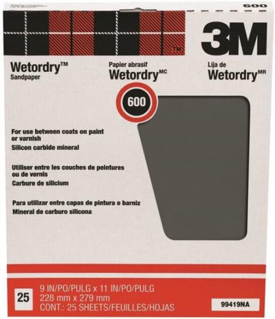 "3M, Wet Or Dry Sandpaper, 600 Grit, 9"" X 11"", 25 Sheets"
