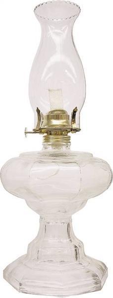 "Oil Lamp, 18"", Galaxy Clear Glass"