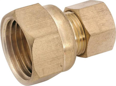 "Compression Fittings, 3/8"", Adapter x 1/4"" FPT, Brass"