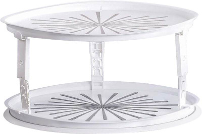 """Lazy Susan, Turntable, Double Decker, 10.5"""", Whit Plastic"""