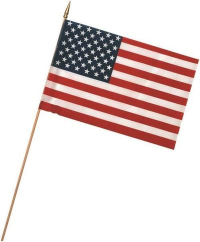 """US Stick Flag,  8"""" x 12"""", Wood Staff, Gold Spearhead"""