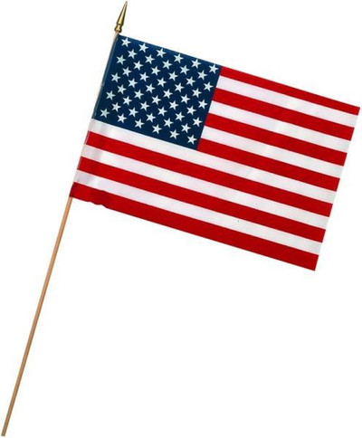 "US Stick Flag, 12"" x 18"", With Gold Spearhead"