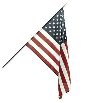 "US Stick Flag, 24""x 34"", With Gold Spearhead"