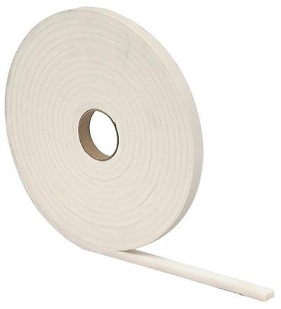 "Weatherstrip, Foam Tape, 3/8"" x 3/16"" x 17', White"