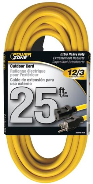 12/3, Extension Power Cord, 25', Yellow