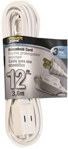 16/2, Electrical Extension Cord, 12', With 3 Way Cube, White