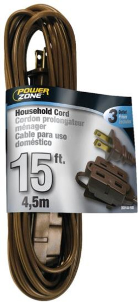 16/2, Electrical Extension Cord, 15', With 3 Way Cube, Brown