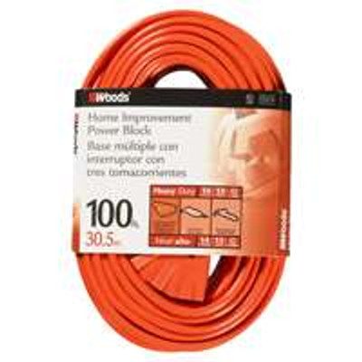 14/3, Electrical Extension Cord, 100', 13 Amp, 125 VAC, Orange
