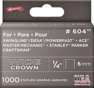 """Arrow, 604, Staple, Flat Heavy Duty Crown, 1/4"""""""