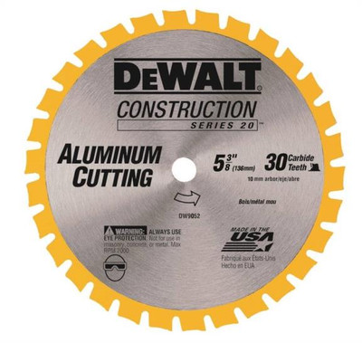 "DeWalt, DW9052, Circular Saw Blade, 5-3/8"", 30 Teeth, Aluminum Cutting"