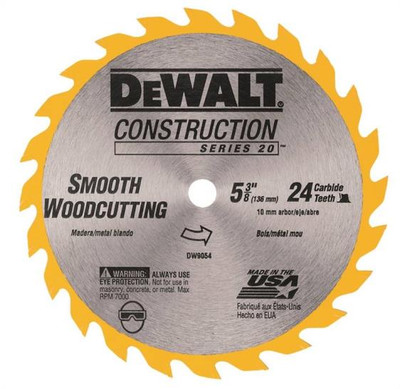 "DeWalt, DW9054, Circular Saw Blade, 5-3/8"", 24 Teeth, 10 MM Arbor"