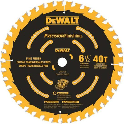 "DeWalt, DW9196, Circular Saw Blade, 6-1/2"", 40 Teeth, 5/8"" Arbo"