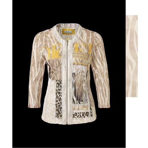 Just White Animal print Paneled Zip fronted Jacket