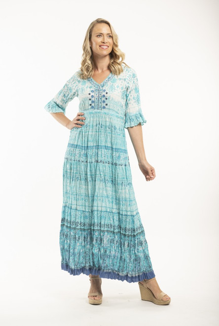 Orientique White and Turquoise Cotton Maxi Dress